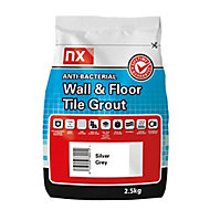 NX Anti-bacterial Ready mixed Silver grey Floor & wall Tile Grout, 2.5kg