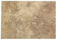 Castle travertine Coffee Satin Stone effect Ceramic Wall tile, Pack of 7, (L)450mm (W)316mm