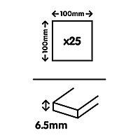 Utopia White Gloss Plain Ceramic Wall tile, Pack of 25, (L)100mm (W)100mm