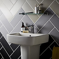 City chic Silver Matt Stone effect Ceramic Wall tile, (L)400mm (W)150mm, Sample