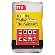 NX Flexible Powder Wall & floor tile adhesive, Grey 20 kg