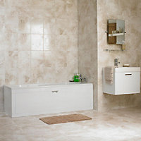 Illusion Beige Marble effect Ceramic Wall & floor tile, (L)100mm (W)100mm, Sample