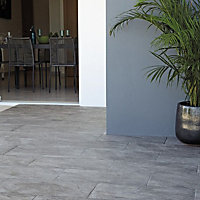 Illusion Dark grey Marble effect Ceramic Wall & floor tile, (L)100mm (W)100mm, Sample