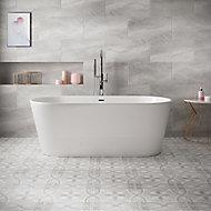 Perla Grey Stone effect Ceramic Floor tile, Pack of 5, (L)600mm (W)300mm