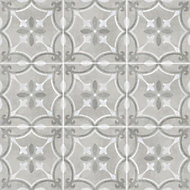 Perla Grey Patterned effect Ceramic Tile, Pack of 11, (L)300mm (W)300mm