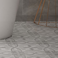 Perla Grey Patterned effect Ceramic Tile, Pack of 11, (L)300mm (W)300mm