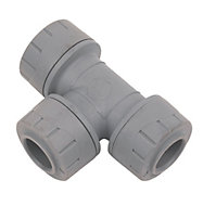 Polyplumb Push fit Equal tee (Dia)15mm, Pack of 10