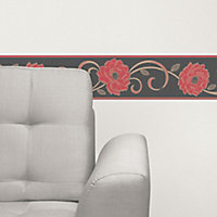 Florentina Cream & red Floral Textured Border