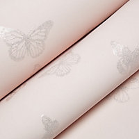 Kids Colours Pink Butterfly Mica effect Embossed Wallpaper