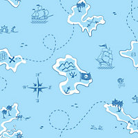 Kids Colours Blue Pirate Smooth Wallpaper