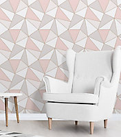 Fine Décor Apex Geometric Rose gold effect Smooth Wallpaper