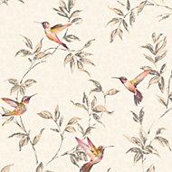 Fine Décor Beige Birds Glitter effect Wallpaper
