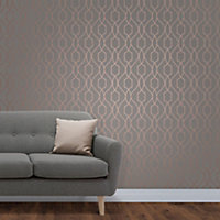 Fine décor Grey & copper effect Geometric Wallpaper