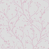Fine décor Laurel Mauve Floral Wallpaper