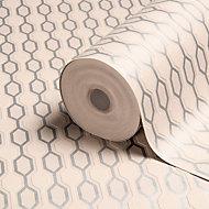 Graham & Brown Kelly Hoppen Silver effect & taupe Geometric Metallic Wallpaper