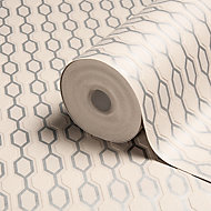 Graham & Brown Kelly Hoppen Taupe Geometric Metallic effect Wallpaper
