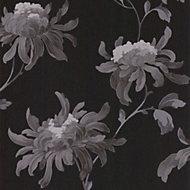 Graham & Brown Julien MacDonald Fabulous Black & grey Floral Glitter Wallpaper