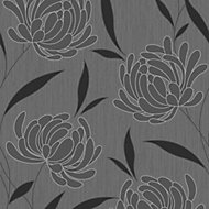 Graham & Brown Nadine Black Floral Textured Wallpaper