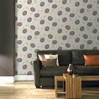 Graham & Brown Superfresco Chocolate & cream Floral Wallpaper