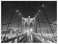 New York bridge Mono Canvas art (W)800mm (H)600mm