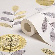 Graham & Brown Superfresco Grey & yellow Flower sketch Wallpaper