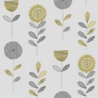 Graham & Brown Superfresco Grey & yellow Flower sketch Smooth Wallpaper