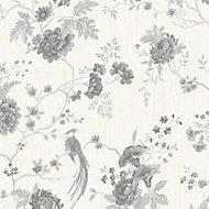 Graham & Brown Julien MacDonald Exotica White & silver Floral & birds Wallpaper
