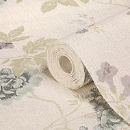 Graham & Brown Julien MacDonald Exotica Duck egg & lilac Floral & birds Glitter Wallpaper
