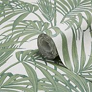 Graham & Brown Julien MacDonald Honolulu Palm green Foliage Glitter Wallpaper