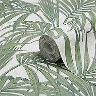 Graham & Brown Julien Macdonald Honolulu Palm green Foliage Glitter effect Embossed Wallpaper