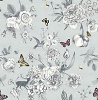 Graham & Brown Fresco Blue Flowers, birds & butterflies Smooth Wallpaper