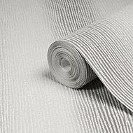 Graham & Brown Valentino Silver Striped Glitter Wallpaper