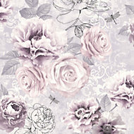 Graham & Brown Fresco Pink, purple & grey Floral Wallpaper