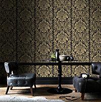 Graham & Brown Artisan Black Gloriana Metallic effect Smooth Wallpaper