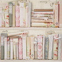Graham & Brown Fresco Pink Collage bookcase Wallpaper