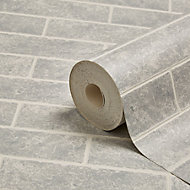 Graham & Brown Contour Grey Small brick Wallpaper