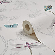 Graham & Brown Contour White & silver Nature trail Wallpaper