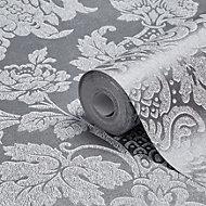 Graham & Brown Fibrous Buckingham Silver Metallic Wallpaper