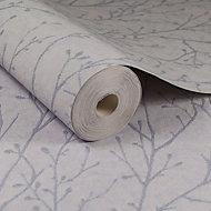 Lilac grey Tree Glitter effect Embossed Wallpaper