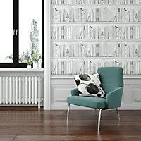 Fresco Blue Botany library Smooth Wallpaper