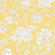 Boutique Meadow land Yellow Floral Metallic effect Smooth Wallpaper