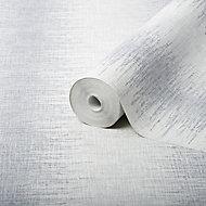 Graham & Brown Julien Macdonald Striped Silver glitter effect Embossed Wallpaper