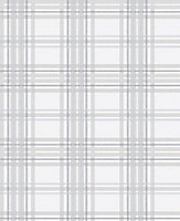 Graham & Brown Superfresco Easy Grey Tartan Metallic effect Embossed Wallpaper