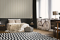 Boutique Mercury Champagne Striped Metallic effect Embossed Wallpaper
