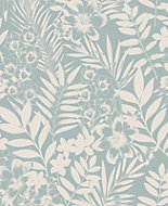 Boutique Alice Duck egg blue Leaf Metallic effect Wallpaper