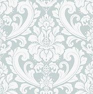 Boutique Adelina Duck egg blue Damask Metallic effect Wallpaper