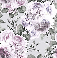 Boutique Garland Lilac Floral Wallpaper