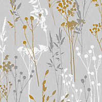 Superfresco Easy Grey & yellow Floral Textured Wallpaper