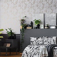 Superfresco Easy Grey Floral Rose gold effect Textured Wallpaper