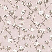 Superfresco Easy Blush pink Floral Textured Wallpaper